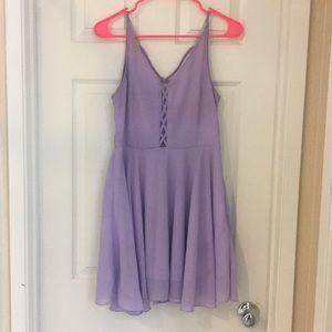 Lavender/ crisscrossed front/ flowy dress